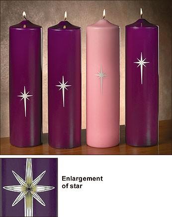 Advent Pillar Candles Star of Bethlehem Pillar Set 4