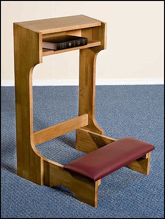 Padded Church Kneeler Pecan Stain