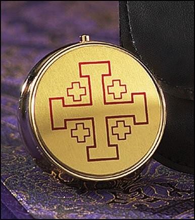 7-Host Communion Pyx Jerusalem Cross