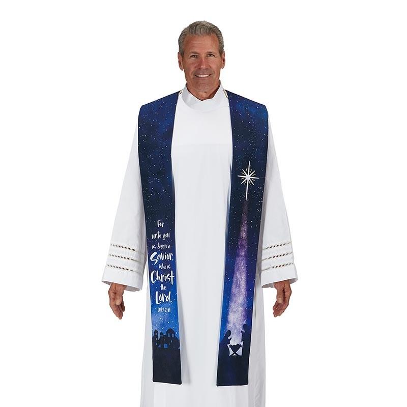 A Savior is Born Christmas Overlay Clergy Stole