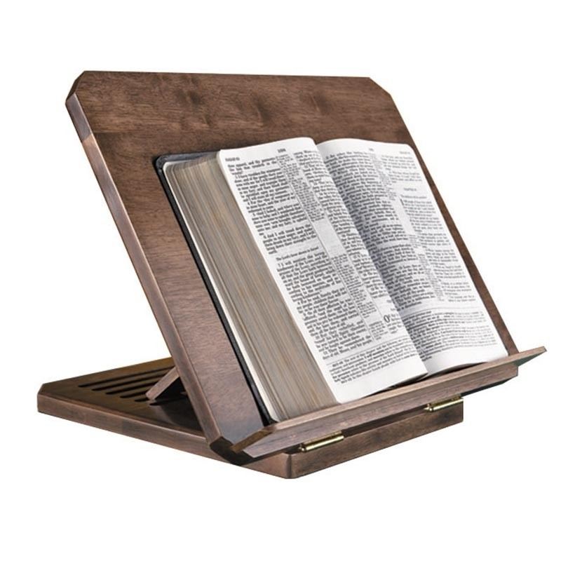 Adjustable Wood Bible Stand w/ Engraved Bible Verse - Maple