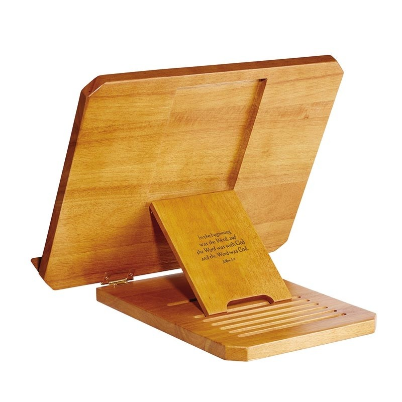 Adjustable Wood Bible Stand w/ Engraved Bible Verse - Oak