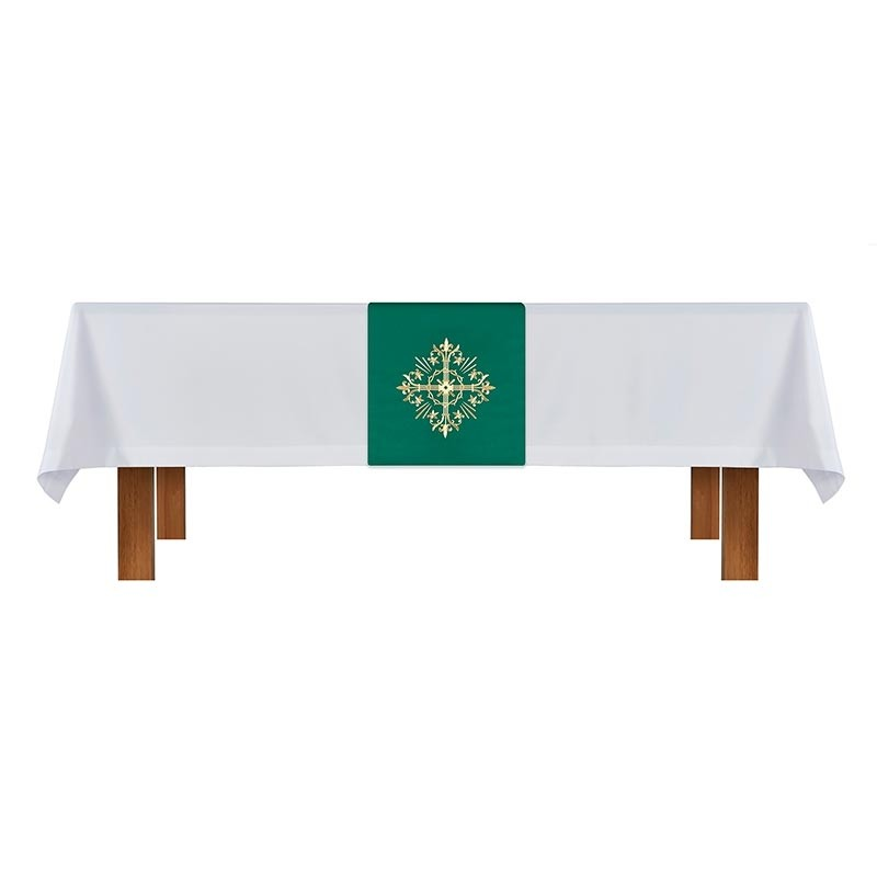Altar Frontal and Holy Trinity Cross Green and White Overlay Cloth