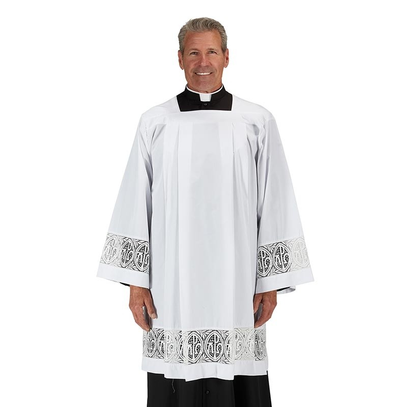 Alpha and Omega Lace Clergy Surplice with Pleats