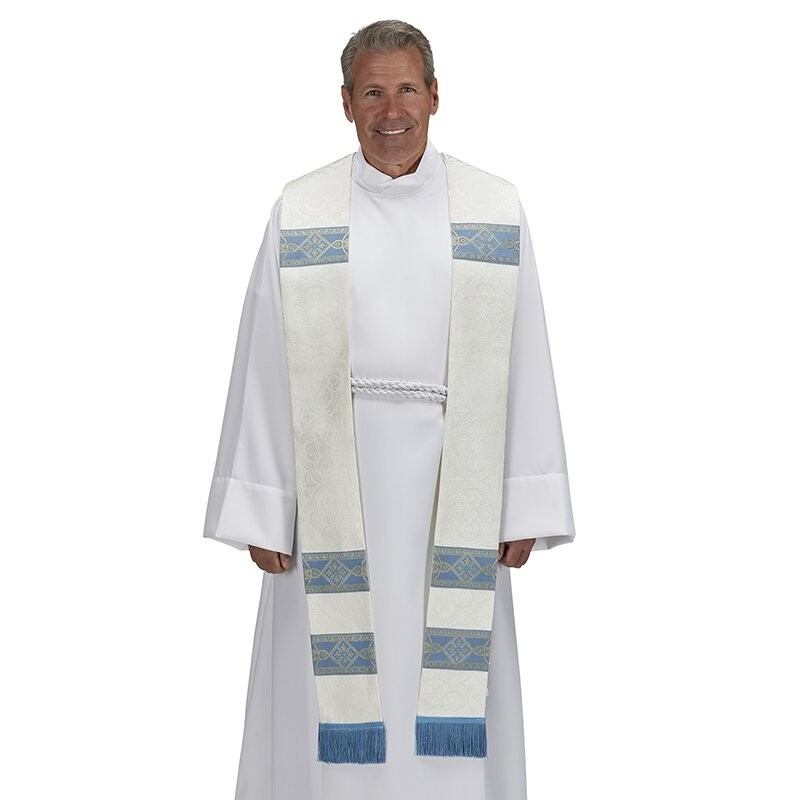 Avignon Collection White and Blue Clergy Stole