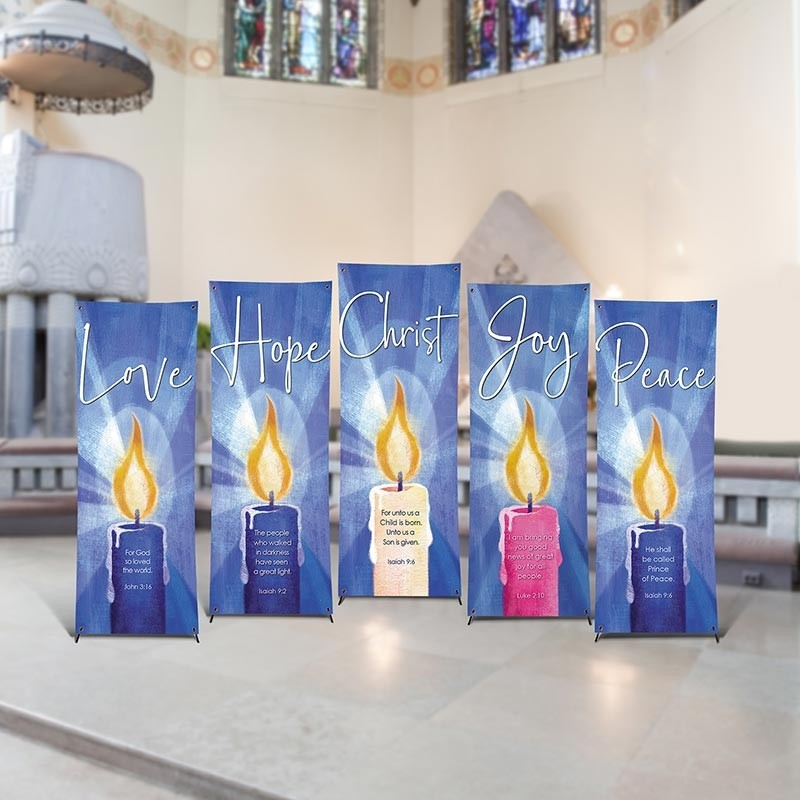 Blue Advent Candle Church Banner Set - Set of 5