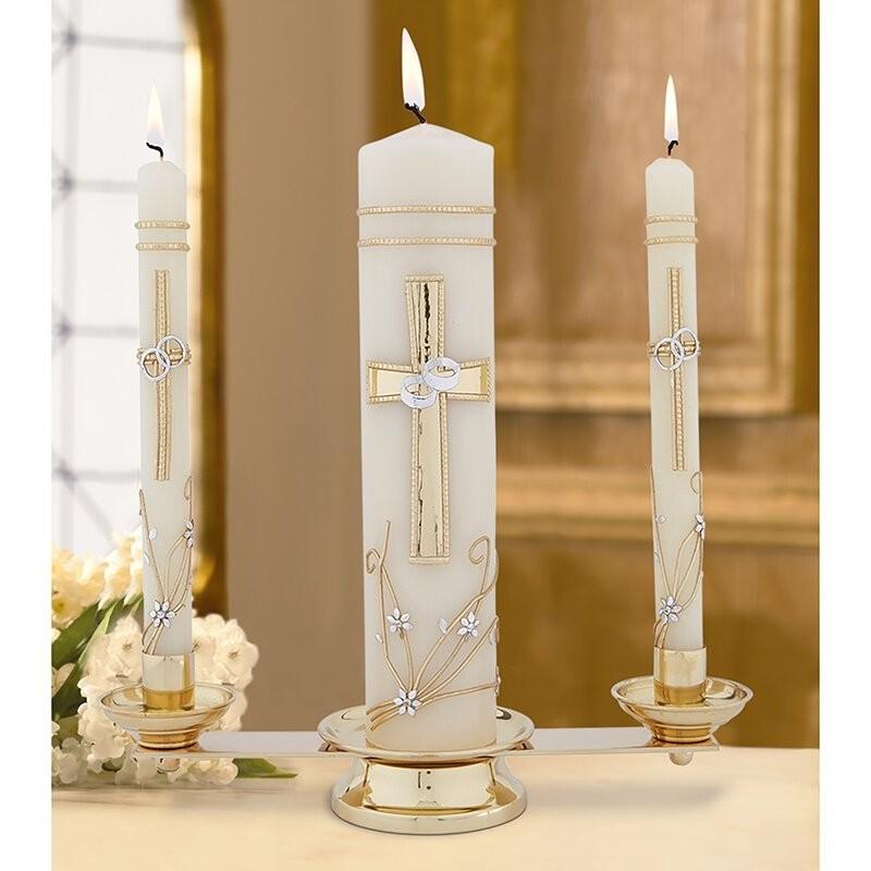 Brass Wedding Unity Candleholder