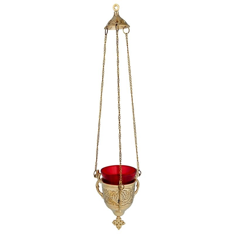 Classic Hanging Sanctuary Lamp with Ruby Glass