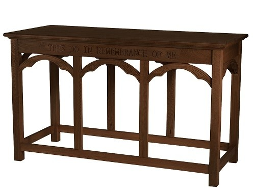Communion Table  Do This in Memory of Me- Walnut