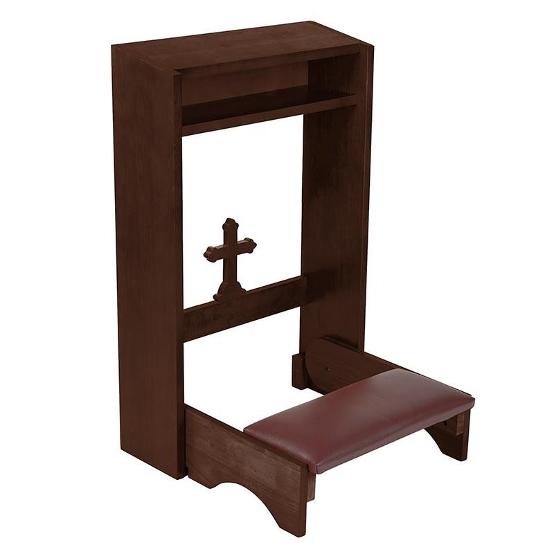 Cross Folding Padded  Prayer Kneeler Walnut Stain