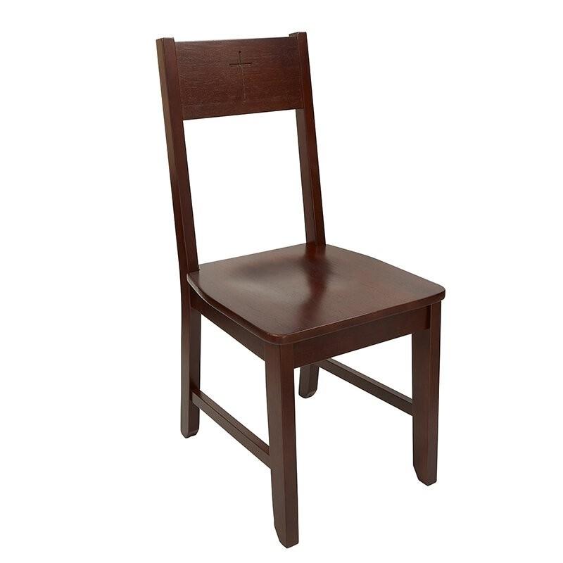 Engraved Cross Church Altar Side Chair - Walnut