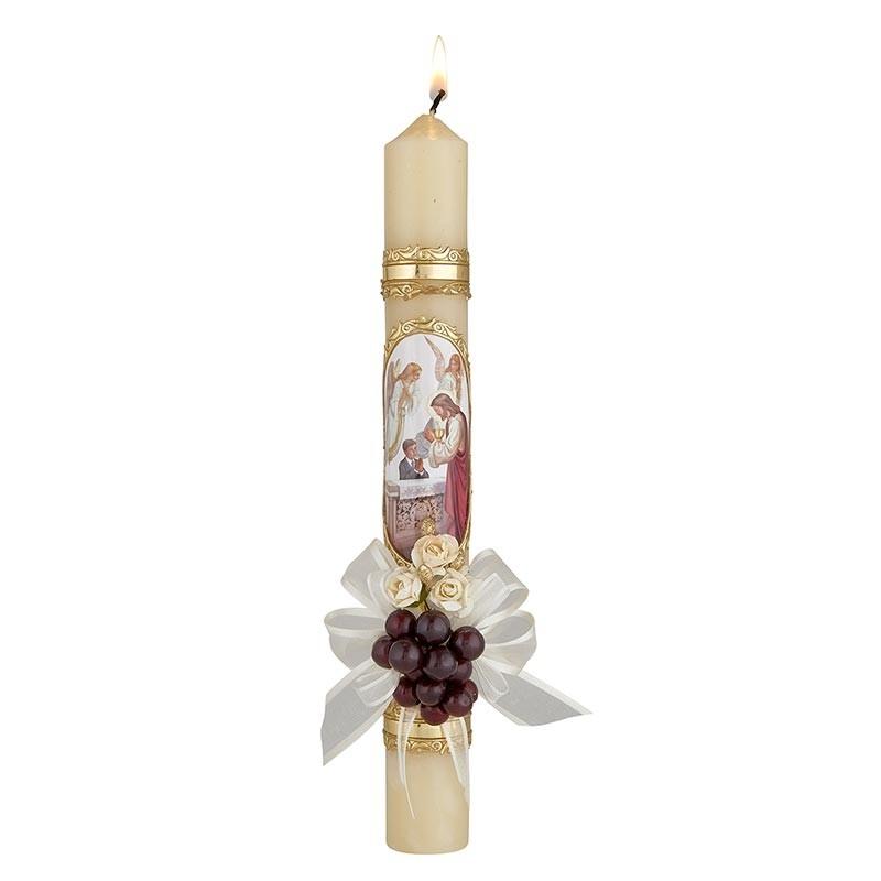 First Communion Candle-Boy w ribbon