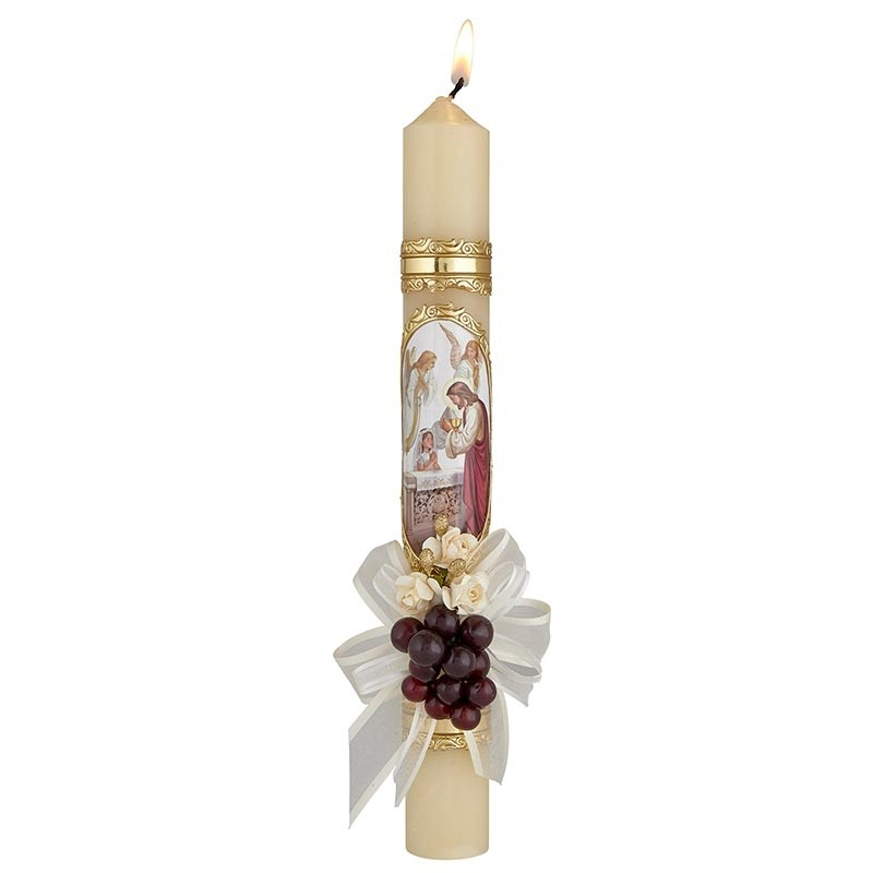 First Communion Candle-Girl w ribbon & flowers