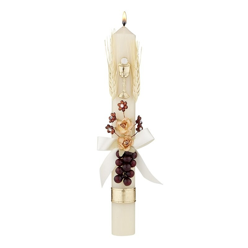 Grapes & Wheat w/ Flowers First Communion Candle
