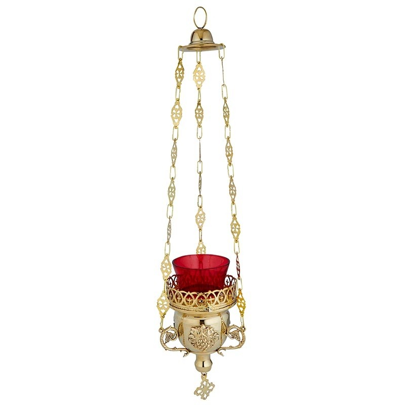 Hanging Sanctuary Lamp with Ruby Glass