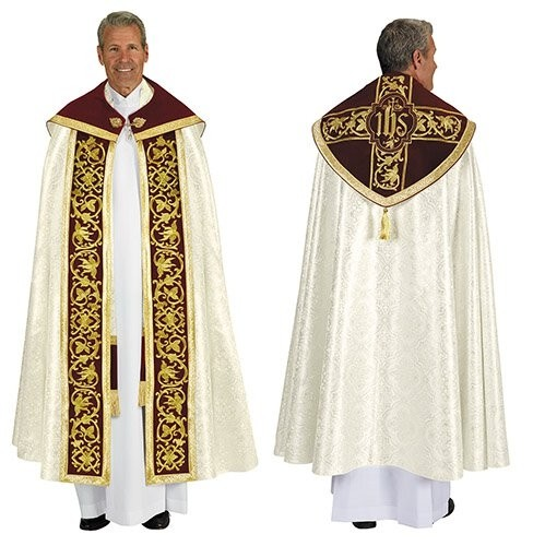Jacquard Gold and Burgundy Clergy Cope