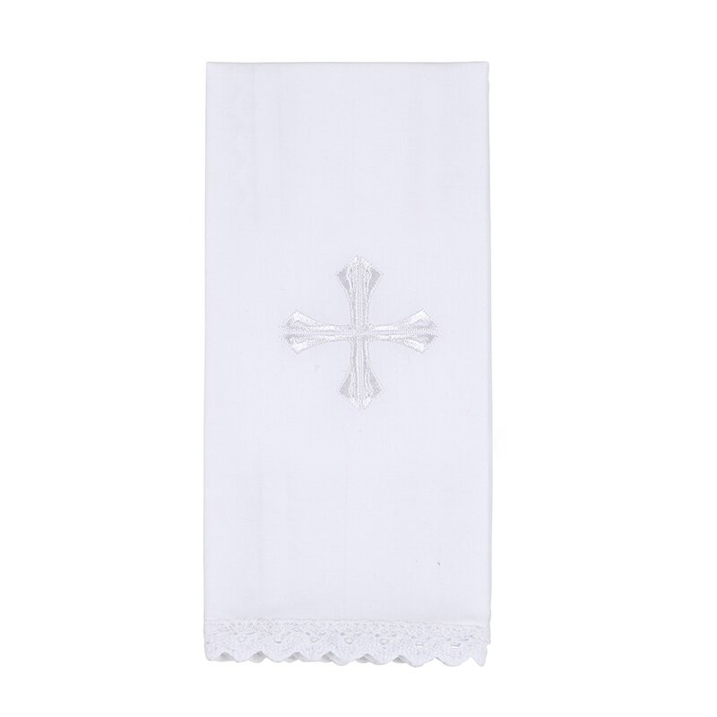 Lace Trim Embroidered Cross Lavabo Towel