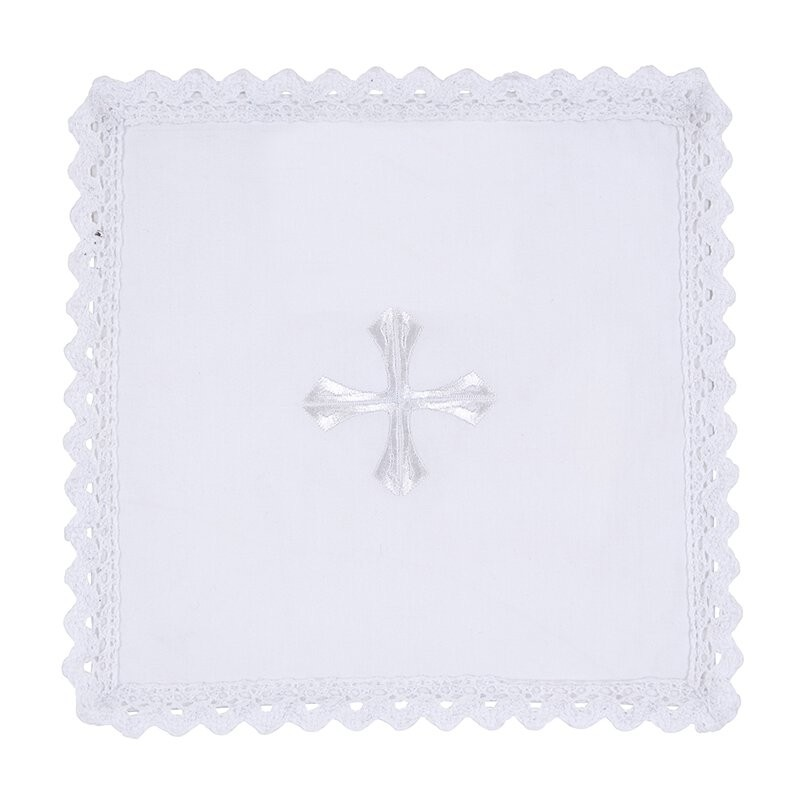 Lace Trim Embroidered Cross Chalice Pall with Insert