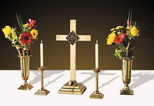 Brass Church Altar Set IHS Symbol 24""
