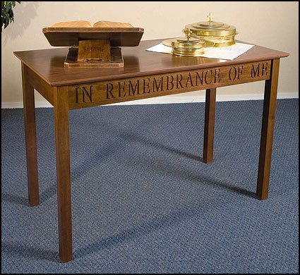 Communion Table This Do In Remembrance of Me Maple