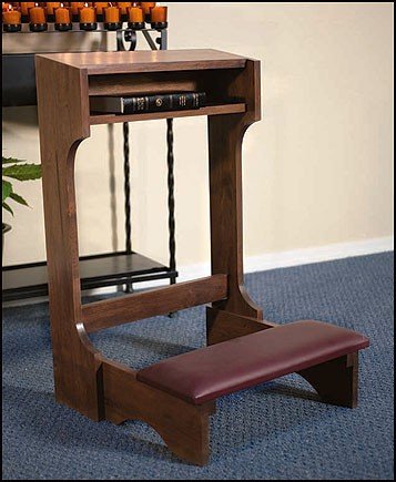 Padded Church Kneeler Walnut Stain