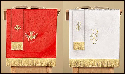 Reversible Pulpit Scarf with Dove: Red/White