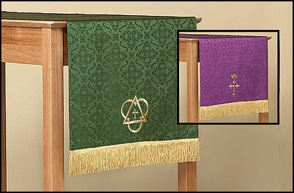 Reversible Table Runner with Cross: Purple/Green