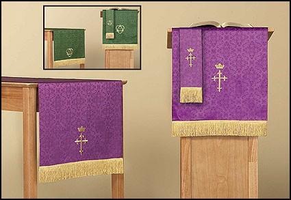 Reversible Three Piece Parament Set: Purple/Green