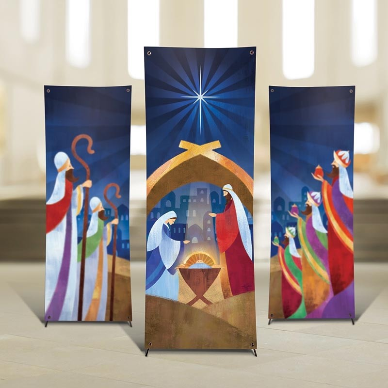 Let us Adore Him Nativity X-Stand Church Banner Set