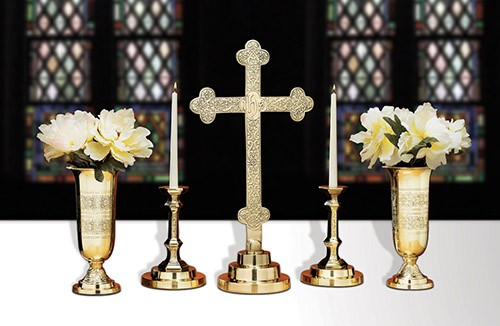 Budded Cross Altar Cross Set