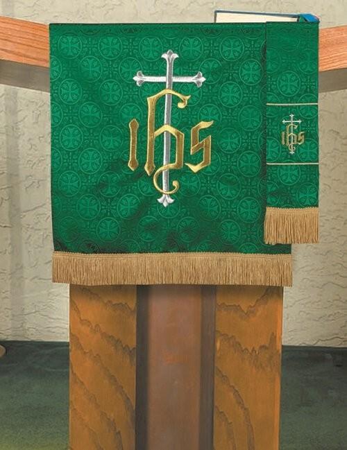Maltese Jacquard Green Pulpit Scarf