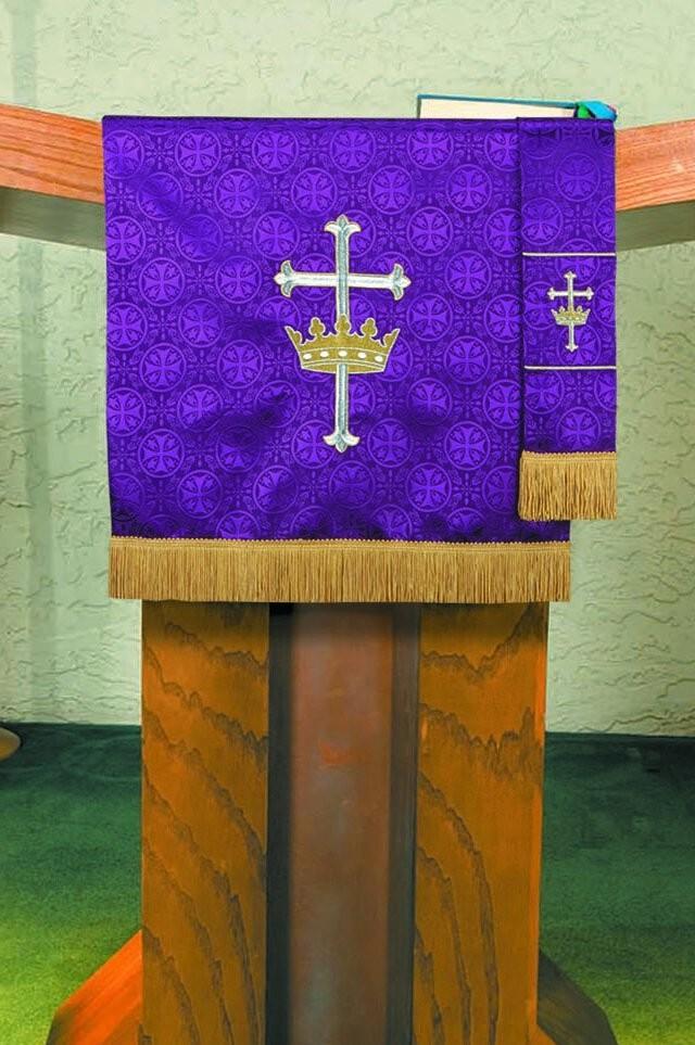Maltese Jacquard Lenten Purple Pulpit Scarf