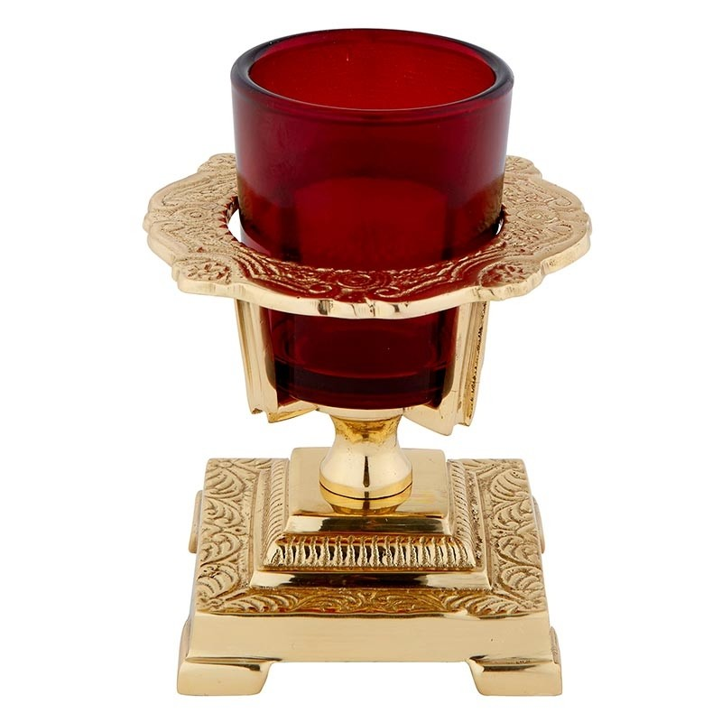 Ornate Votive Holder with Ruby glass globe