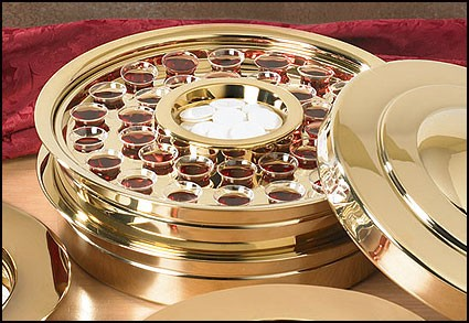Brass Finish Communion Tray 40 Servings