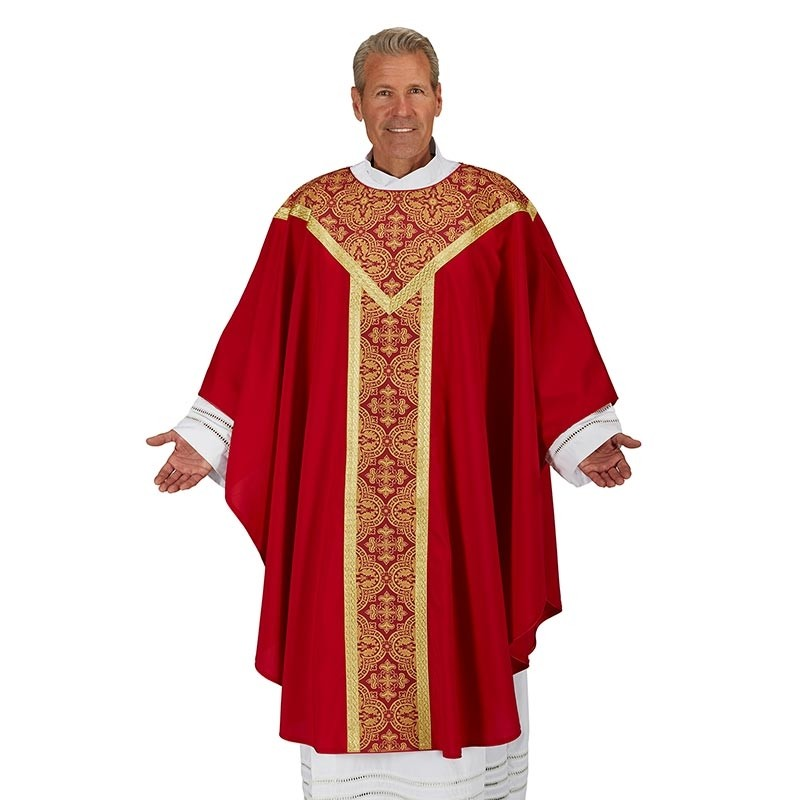 Printed Orphrey Red Chasuble