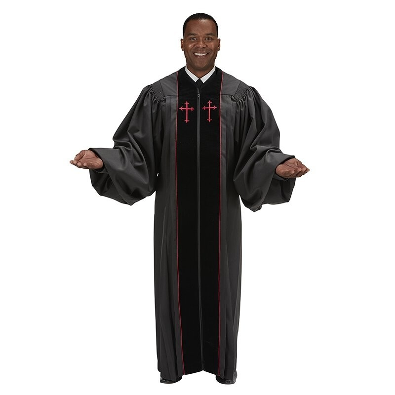 Pulpit Robe - Black with Red Crosses
