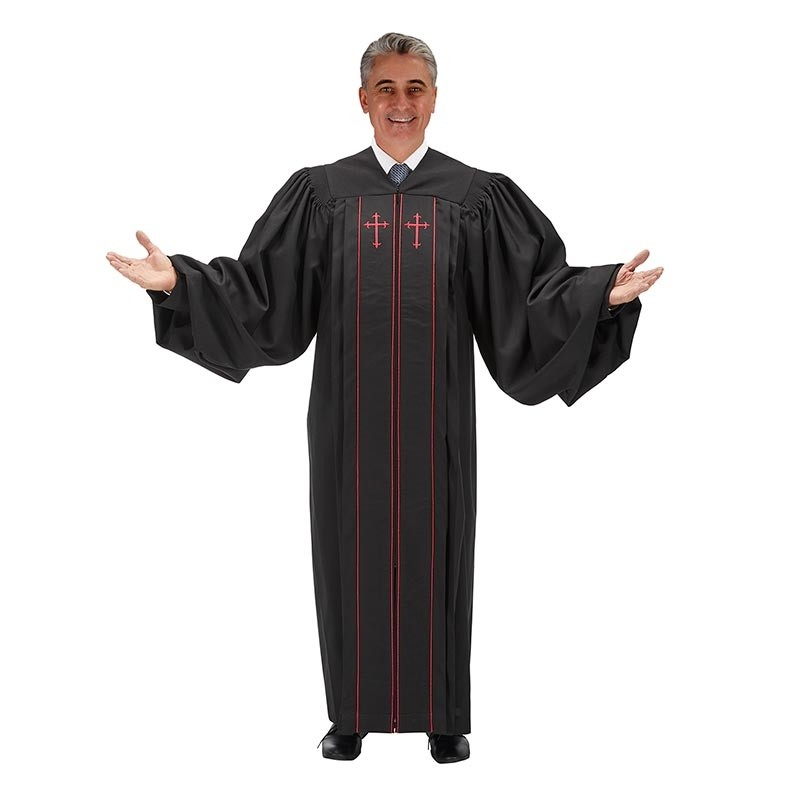 Pulpit Robe with Double-Red Trim & Cross Black