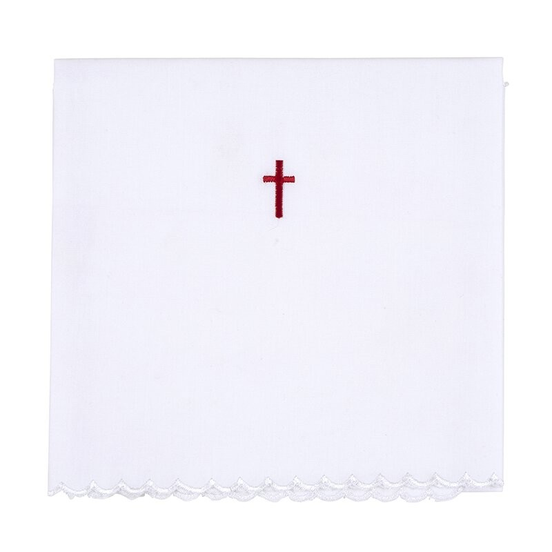 Red Cross with Lace Trim Lavabo Towel