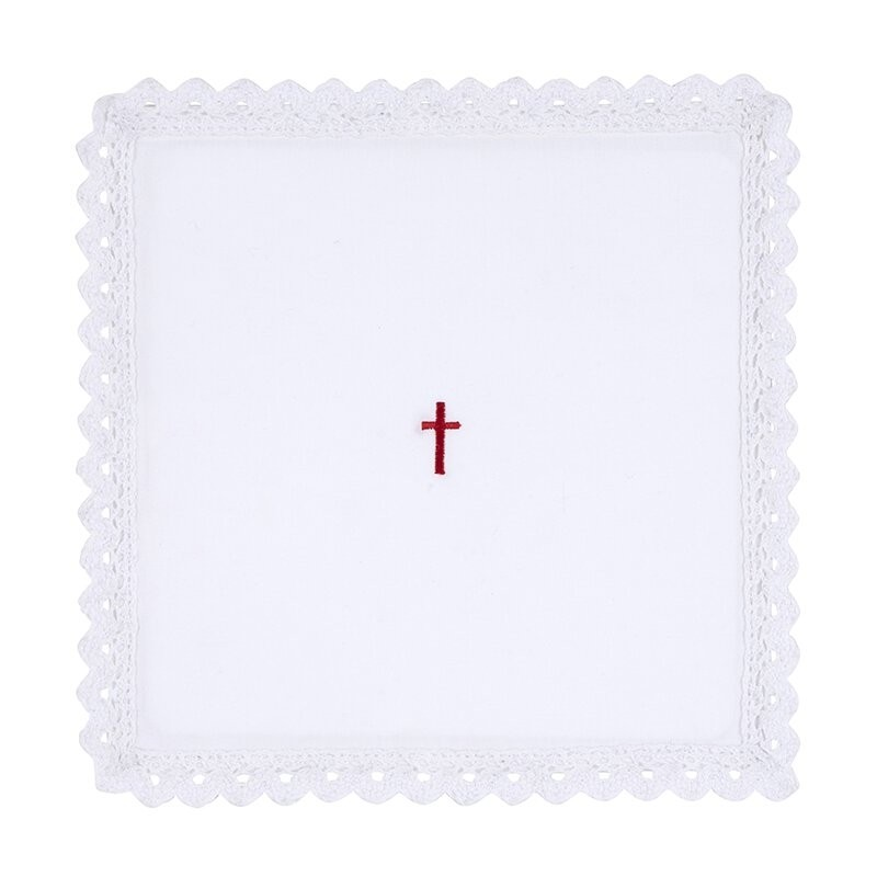 Red Cross with Lace Trim Chalice Pall with Insert