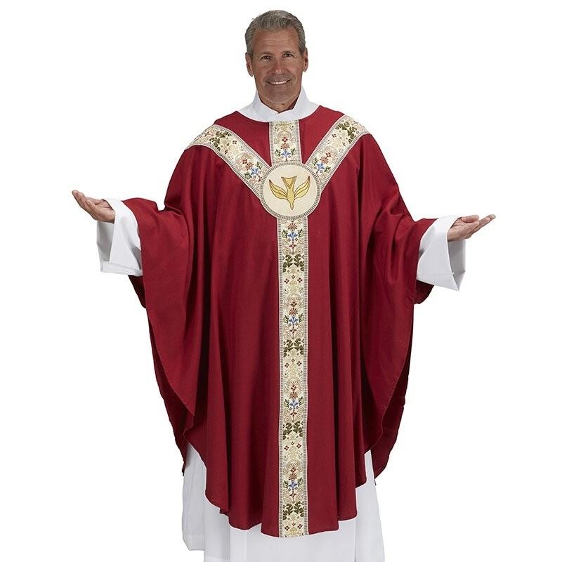 Red Semi-Gothic Coronation Chasuble