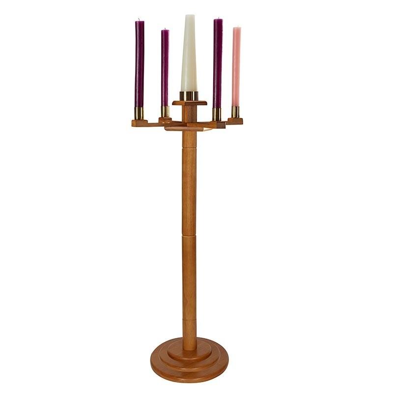 Round Base Church Advent Candlestick Oak