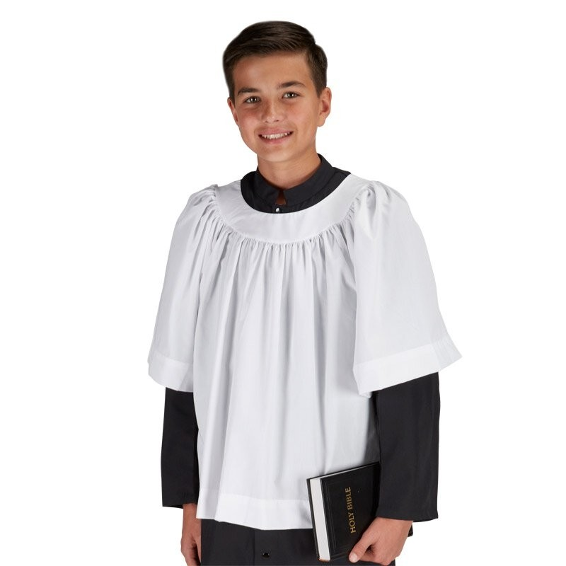 Round Neck Altar Server Surplice Short Sleeves