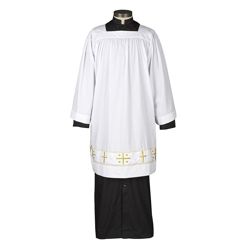 Square Neck Surplice with Embroidered Gold Cross