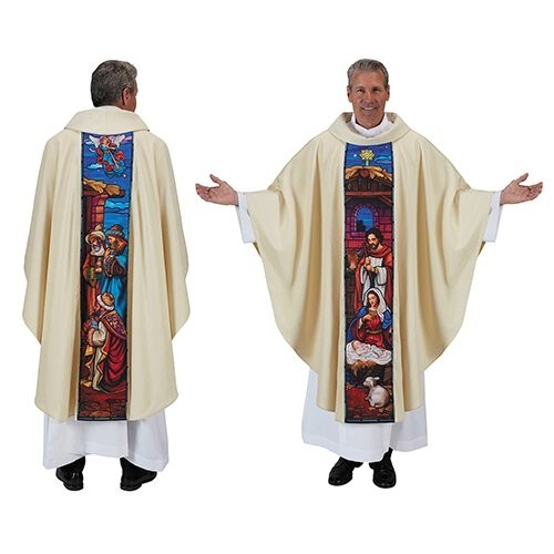 Stained Glass Nativity Chasuble