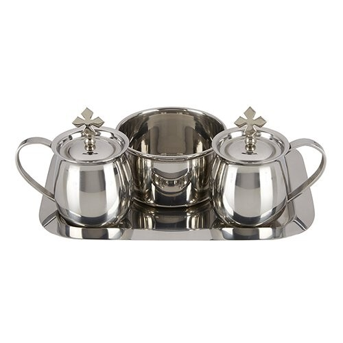 Stainless Steel Cruet Set with Tray and Bowl