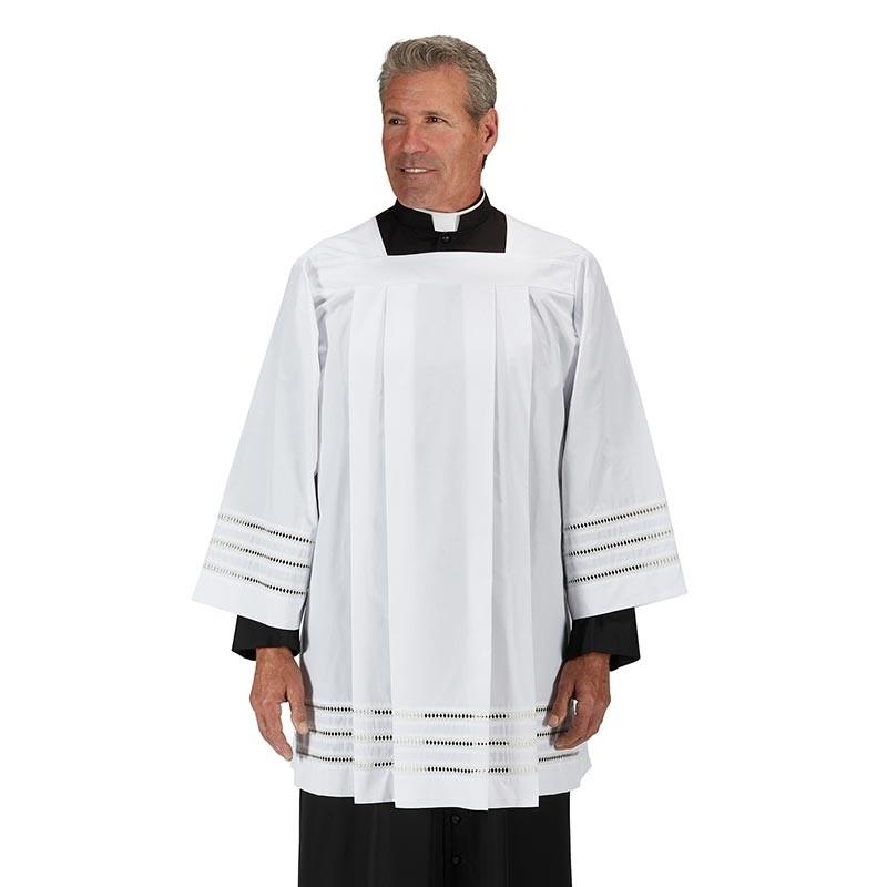 Trinity Eyelet Edged Mens Clergy Surplice