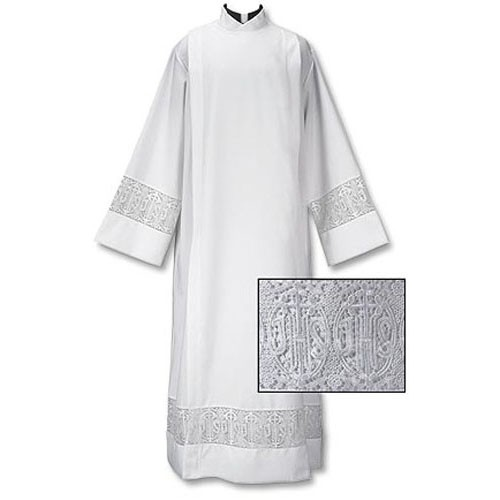 Latin Cross and IHS Lace Front Wrap Clergy Alb