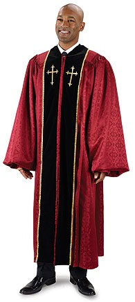 Men's Burgundy Brocade Pulpit Robe with Crosses