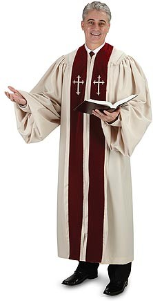 Men's Ivory Pulpit Robe with Crosses