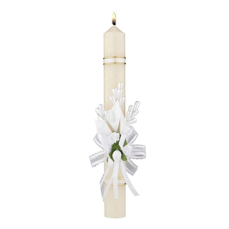 White Flowers and Ribbon First Communion Candle